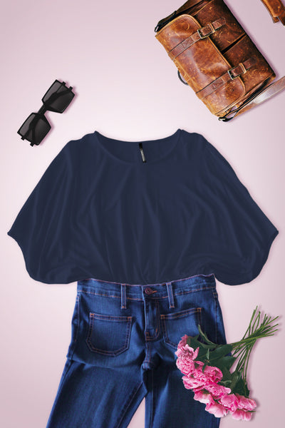Wide Fit Dolman Short Sleeve Blouse - Navy