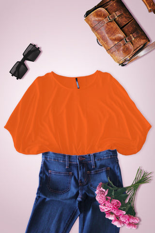 Wide Fit Dolman Short Sleeve Blouse - Orange