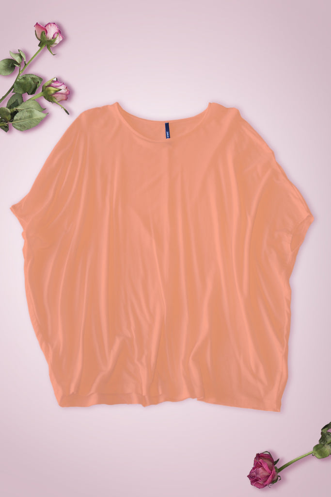 Wide Fit Dolman Short Sleeve Blouse - Peach