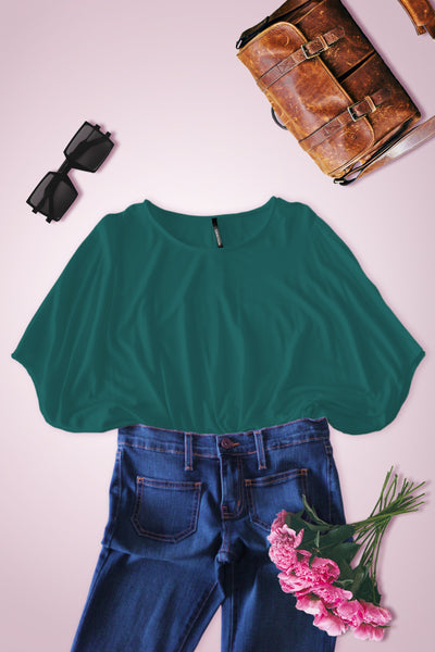 Wide Fit Dolman Short Sleeve Blouse - Teal