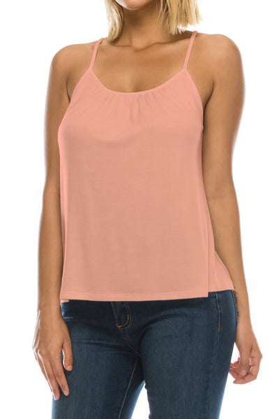 Solid Pleated Front Flowy Cami (12 Colors)