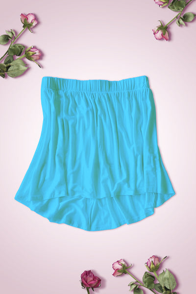 High Low Bottom Draping Bottom Tube Top - Aqua