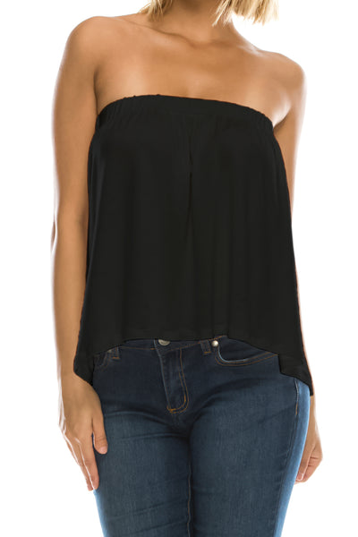 High Low Bottom Draping Bottom Tube Top - Black