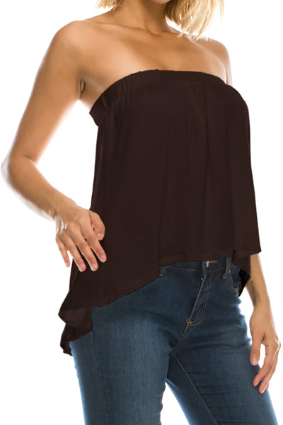 High Low Bottom Draping Bottom Tube Top - Brown