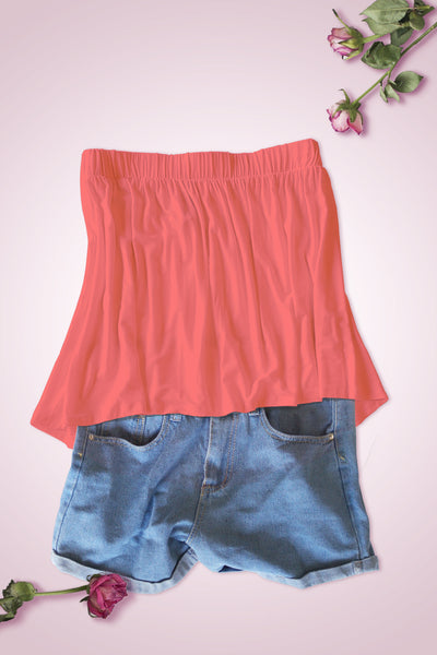 High Low Bottom Draping Bottom Tube Top - Coral