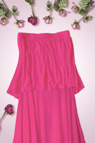 High Low Bottom Draping Bottom Tube Top - Fuchsia