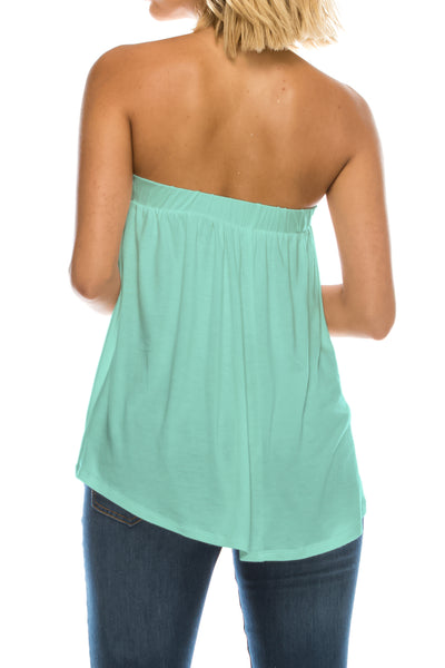 High Low Bottom Draping Bottom Tube Top (13 Colors)