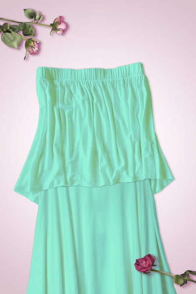 High Low Bottom Draping Bottom Tube Top - Mint