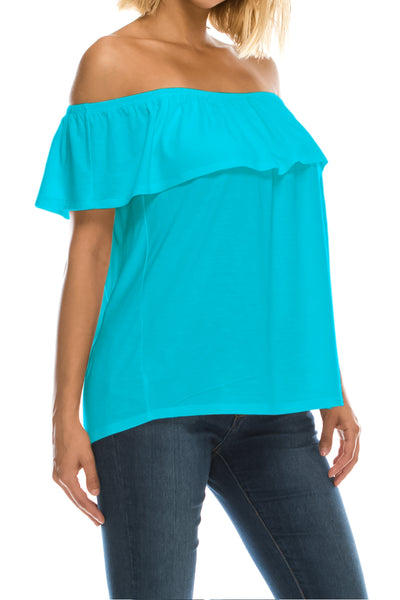 Ruffled On or Off Shoulder Flowy Blouse - Aqua