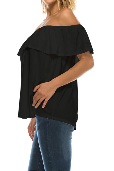 Ruffled On or Off Shoulder Flowy Blouse - Black