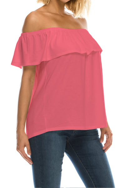 Ruffled On or Off Shoulder Flowy Blouse - Coral