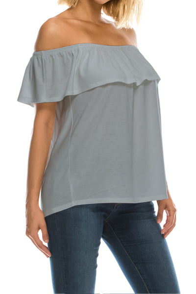 Ruffled On or Off Shoulder Flowy Blouse - Light Grey