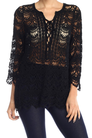 Crochet Lace Knit Tie Up Front Blouse