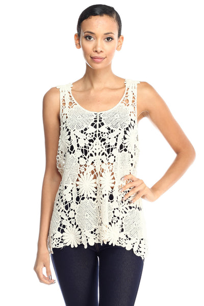 Cocora Crochet Lace Knit Scoop Neck See Through Tank Top …