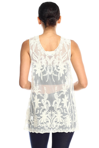 Celina Embroidery Lace Pattern on Mesh Tank Top …