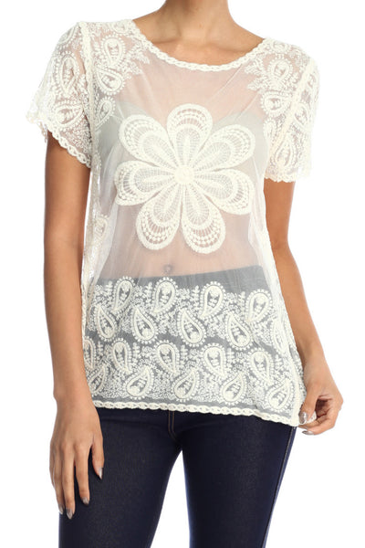 Paula Embroidery Lace Pattern on Mesh Short Sleeve Blouse