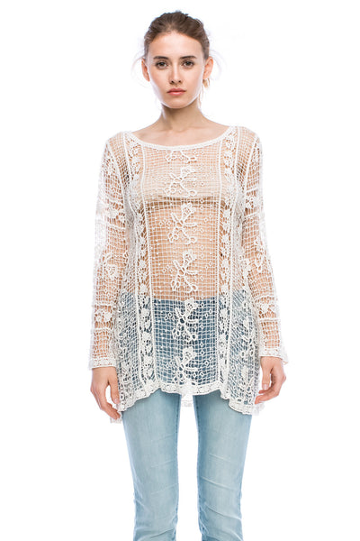 Flower Crochet Lace Long Sleeve Blouse