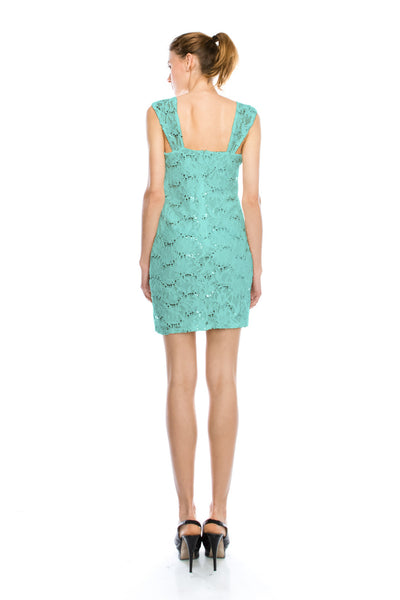Elegant Floral Lace & Sequin Mini Cocktail Dress [More Color]