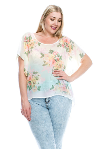 [Plus Size] Floral See Through Silky Chiffon Cover Up Blouse