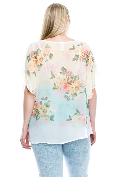 Floral See Through Silky Chiffon Cover Up Blouse