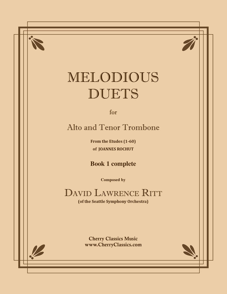 Melodious Duets from Rochut-Bordogni Etudes (1-60) - Book 1 complete for Alto and Tenor Trombone - Cherry Classics Music