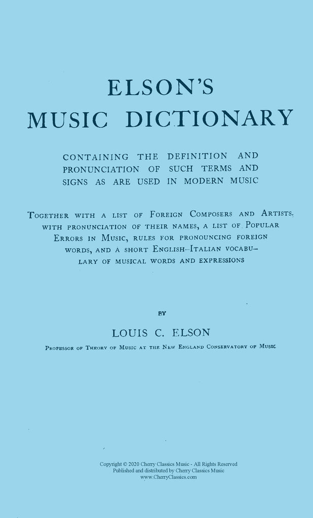 Elson - Elson's Music Dictionary digital download edition - Cherry Classics Music