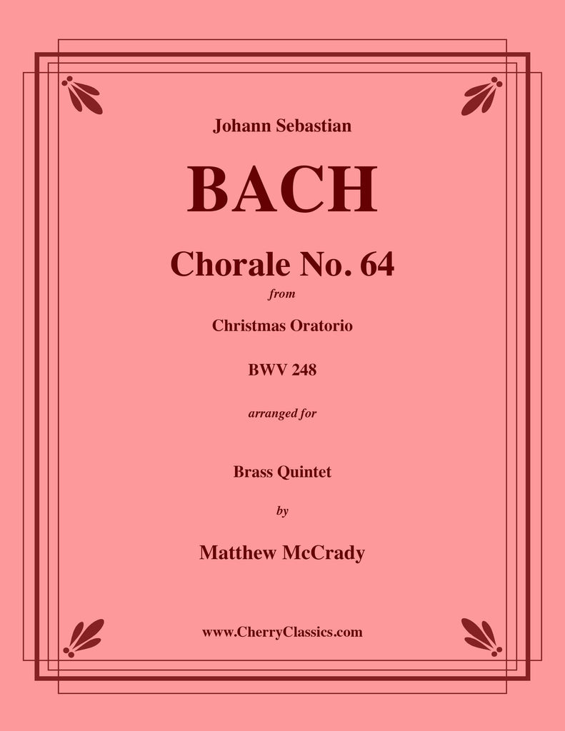 "Bach - Choral No. 64 from Christmas Oratorio ""Now Vengeance Hath Been Taken"" for Brass Quintet - Cherry Classics Music"