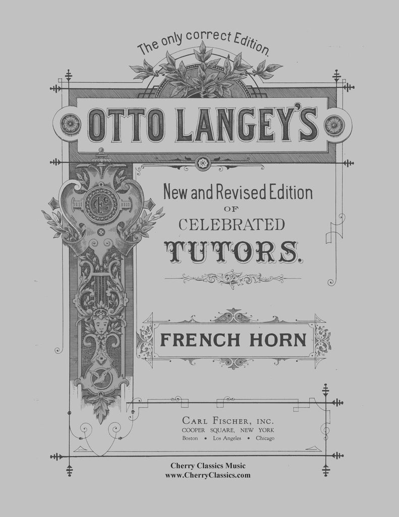 Langey - Celebrated Tutors (Method) for the French Horn - Cherry Classics Music
