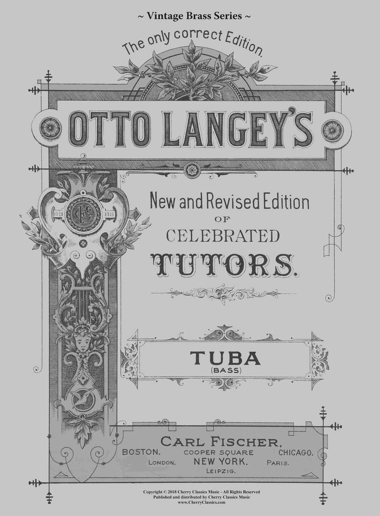 Langey - Celebrated Tutor (Method) for Tuba - Cherry Classics Music