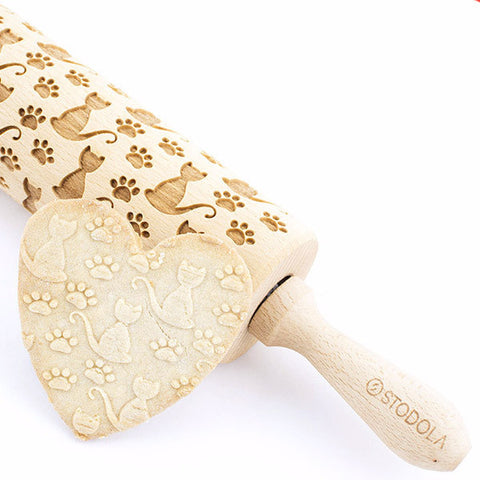 Cat and Paw Engraved Rolling Pin