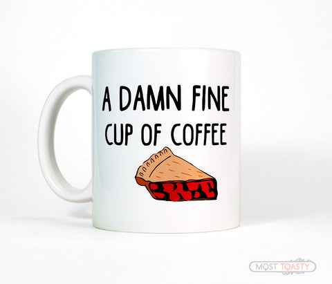 Twin Peaks Coffee Mug, Damn Fine Cup with Cherry Pie