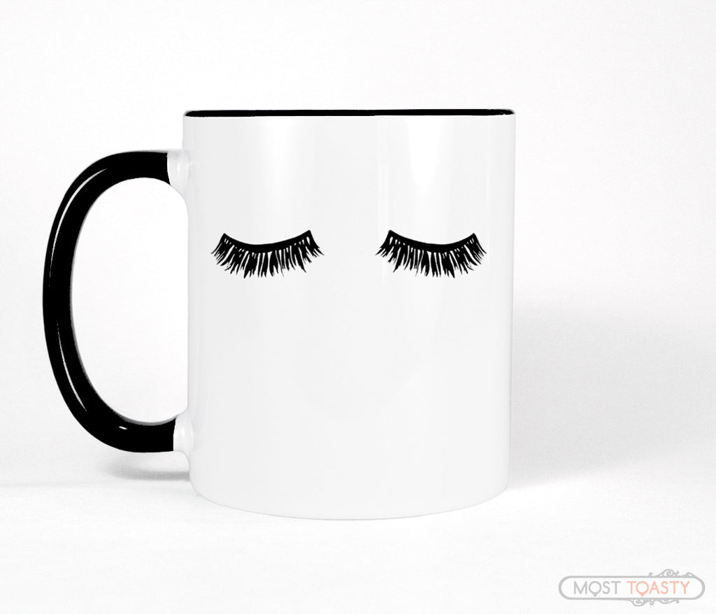 Cute Eyelashes Mug, Black and White Coffee Cup