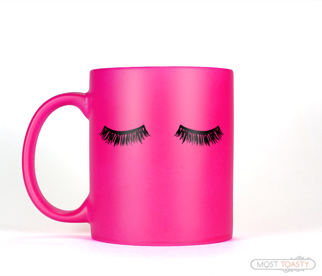 Long Black Eyelashes Mascara Hot Pink Coffee Mug