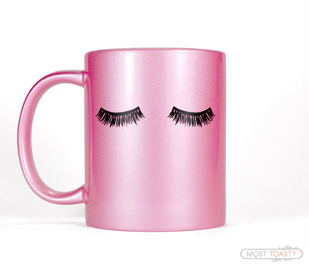 Long Black Eyelashes Mascara Metallic Pink Makeup Coffee Mug