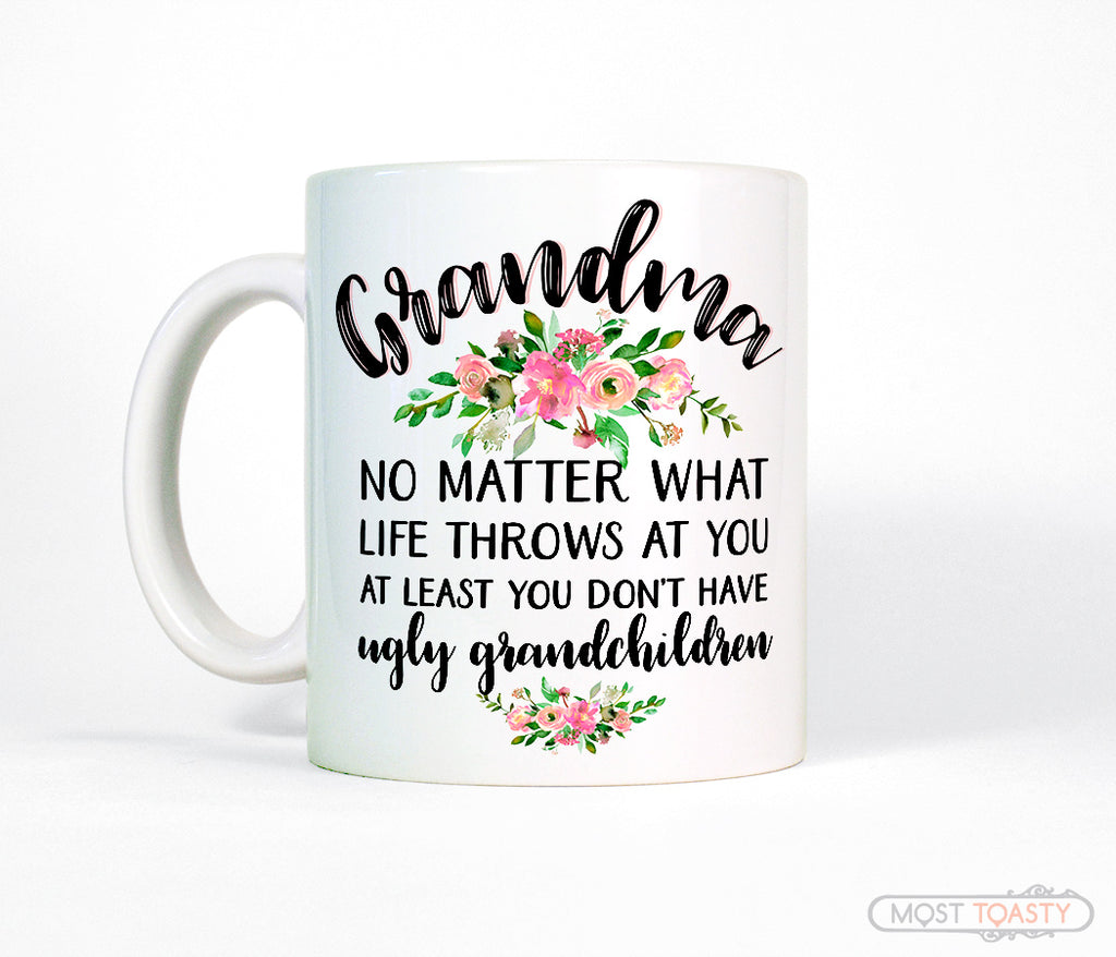 Cute Grandma Coffee Mug, Funny Floral Mothers Day Quote Cup