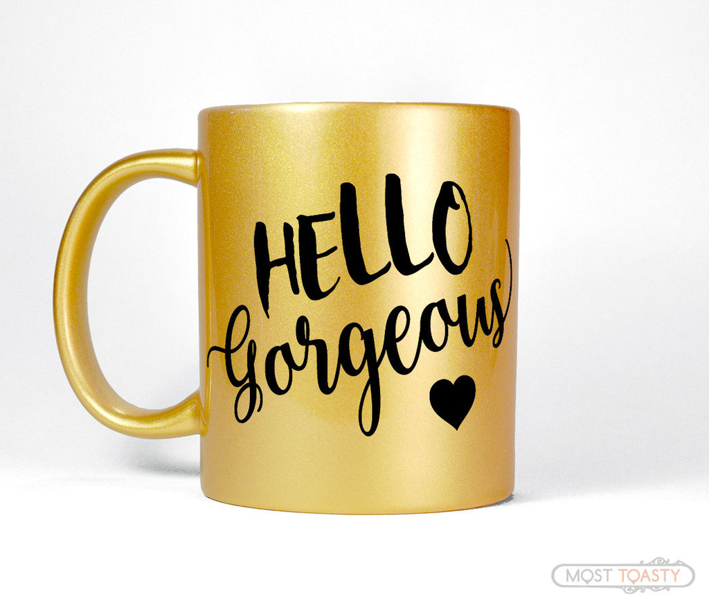 Hello Gorgeous Girly Black and Gold Coffee Mug