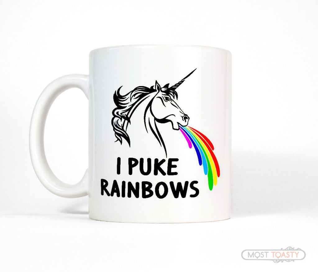 I Puke Rainbows Funny Unicorn Ceramic Coffee Mug