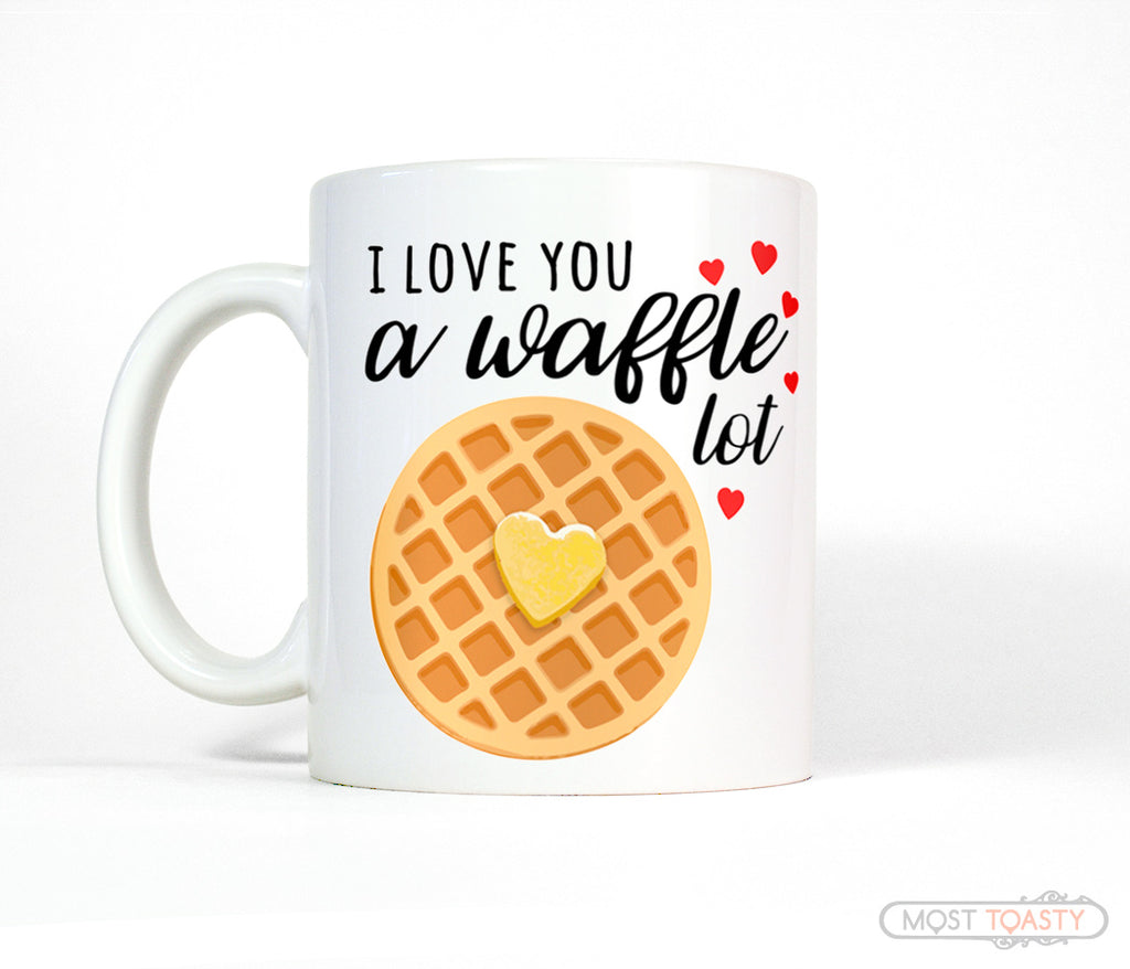Cute Love You Waffle Heart Valentines Day Gift Coffee Mug