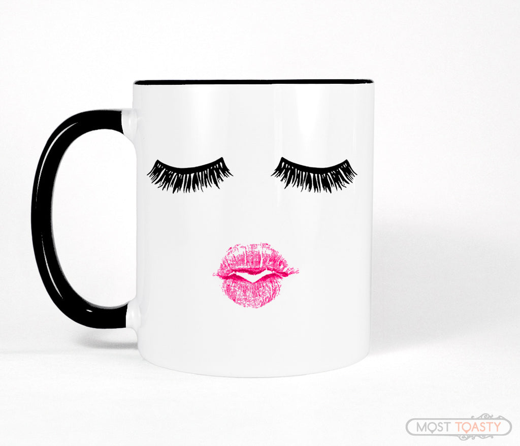 Lipstick and Lashes, Black and White Makeup Mug