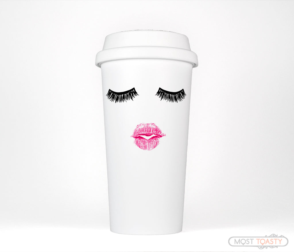 Lashes and Lipstick Cute Makeup Travel Coffee Mug Tumbler