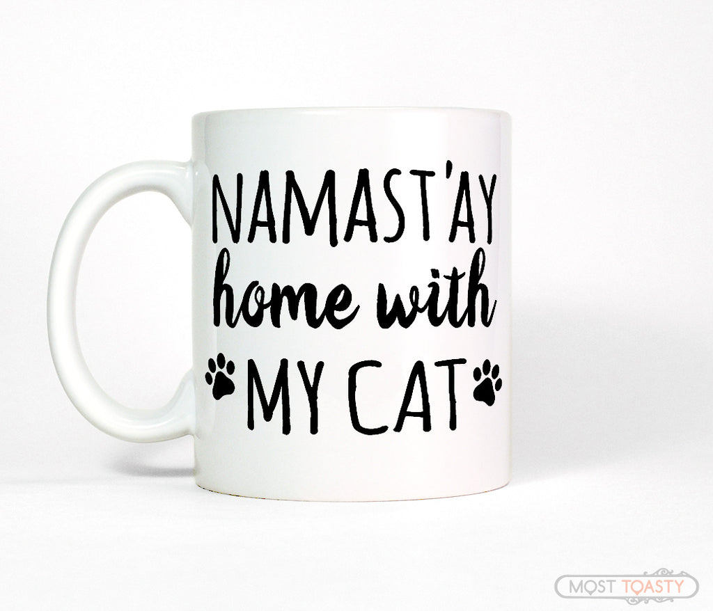 Namastay Home with My Cat Ceramic Kitty Coffee Mug
