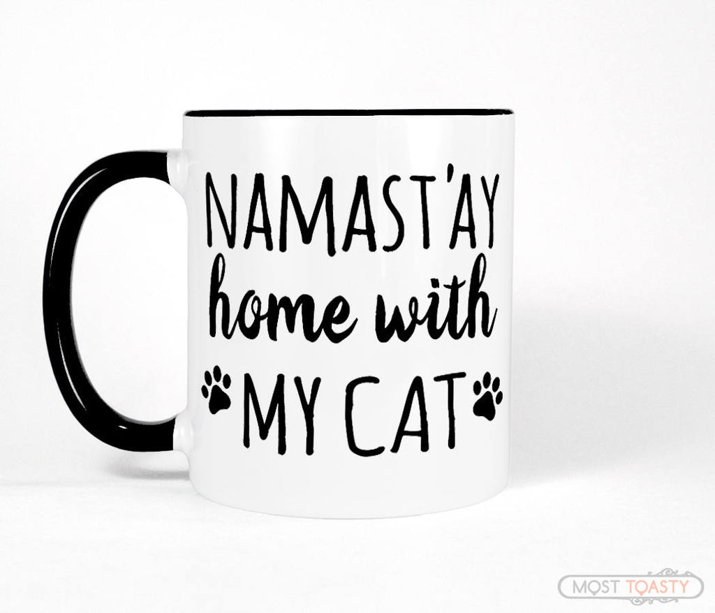 Namastay Home with My Cat Cute Black and White Mug