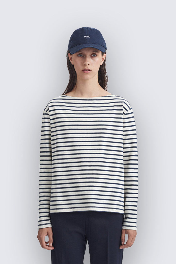 Wood Wood - Adrien Long Sleeve Off White/Navy