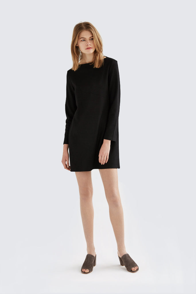 Dress Up - Oblique Wool Dress Black