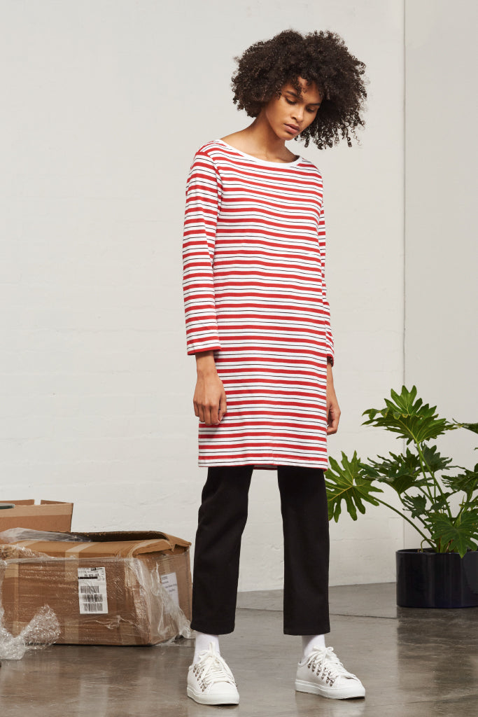 Kowtow - Building Block Boat Neck Dress Red Stripe
