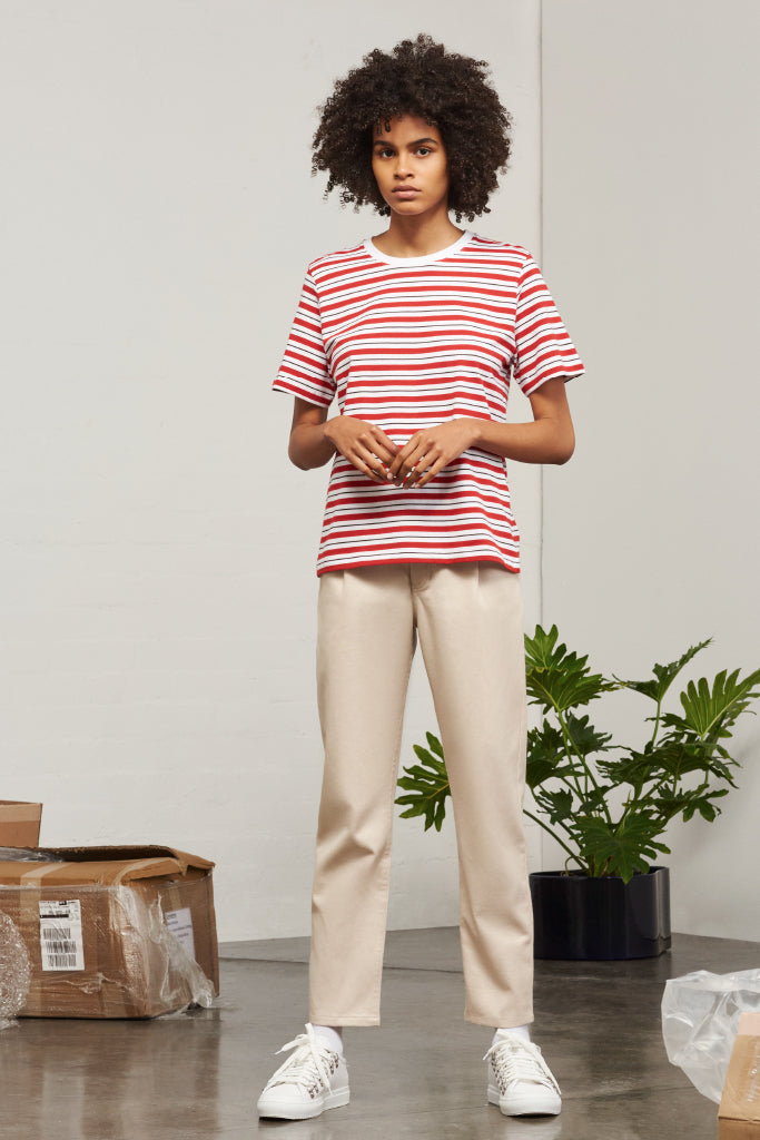 Kowtow - Building Block Classic Fit Tshirt Red Stripe
