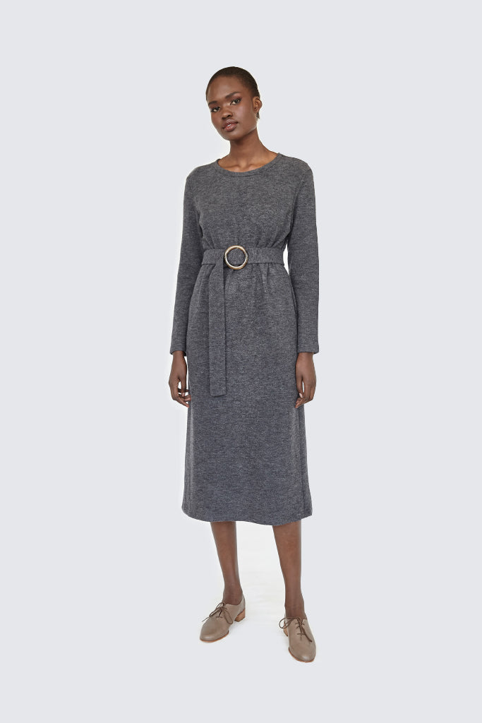 Dress Up - Soft Belted Dress Charcoal