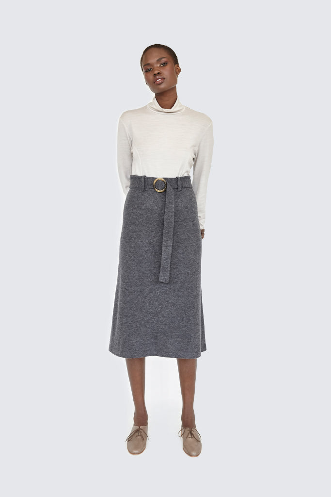Dress Up - Soft Belted Skirt Charcoal