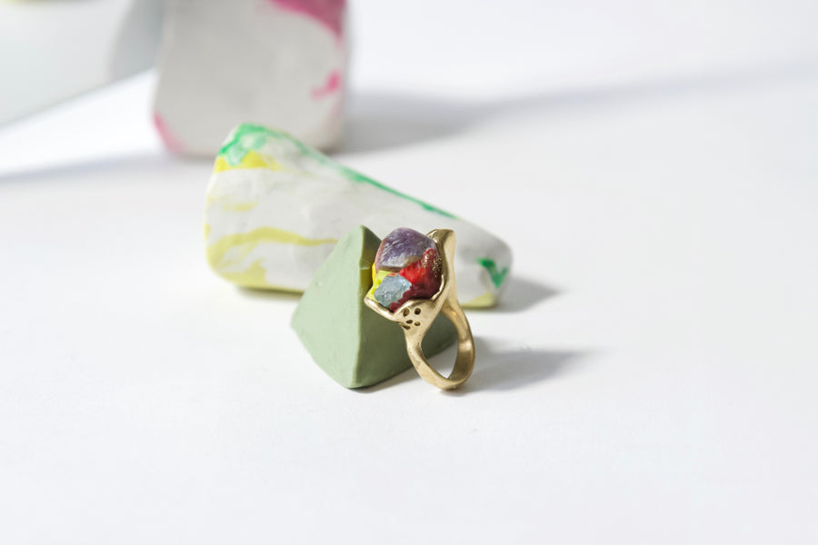 Iridescent lime flash ring