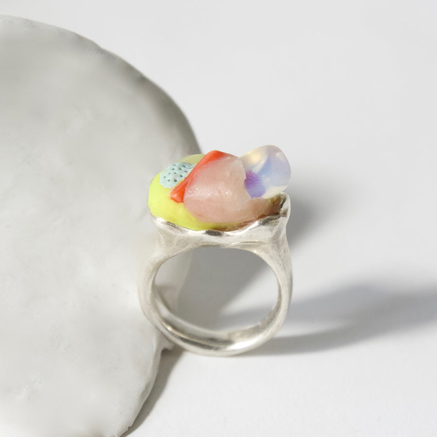 Handcrafted Sterling Silver Ring with Moonstone and Jade by Gré